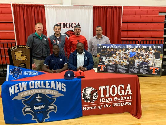 Tioga outfielder Issac Williams (bottom row, left) signed with the University of New Orleans Monday.