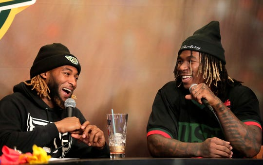 Green Bay Packers running back Aaron Jones (left) co-hosted Clubhouse Live on Monday in Appleton. Jones' guest was fellow Packers running back Jamaal Williams.