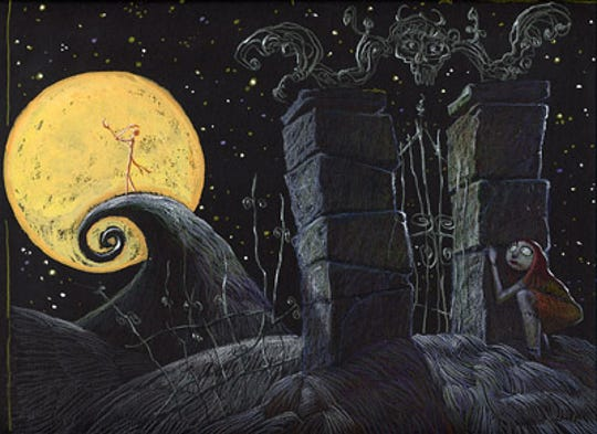 "This image, drawn in connection to the 1993 film ""The Nightmare Before Christmas,"" is among the original works of art on display in a new exhibit at the Trout Museum of Art."