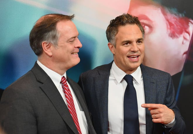 """Mark Ruffalo, right, and attorney Robert Bilott attend the """"Dark Waters"""" New York premiere at Walter Reade Theater on Nov. 12, 2019 in New York City."""