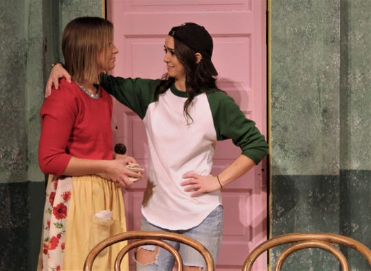 "Olive (Hayli Isbell, right) encourages Florence (Holly Bentea) to work out her frustrations in this rehearsal scene from McMurry University's presentation of the female version of ""The Odd Couple"" at Ryan Little Theatre. Nov. 18 2019"