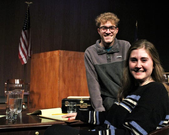 """Hardin-Simmons University senior theater majors Ben Burke and Hanna Hayes are co-directing the courtroom drama """"The Night of January 16th"""" this weekend at Van Ellis Theatre on campus."""