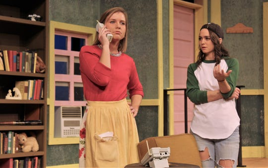 "Florence (Holly Bentea, left) and Olive (Hayli Isbell) are at odds over what people may think of a possible downtown venture in this rehearsal scene from McMurry University's presentation of the female version of ""The Odd Couple."""