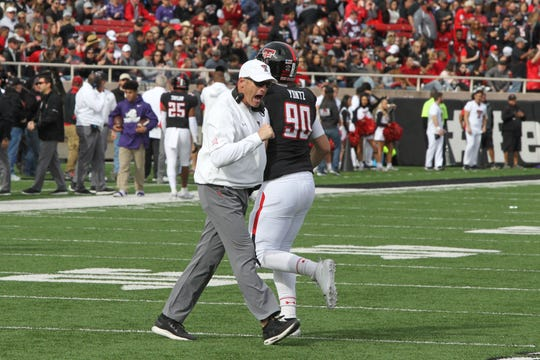 Texas Tech Red Raiders head coach Matt Wells reacts in the second half against the Texas Christian Horned Frogs at Jones AT&T Stadium.
