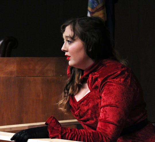 "Karen Andre (Catherine Fuller), the former secretary and lover of a business tycoon is on trial for murder in Hardin-Simmons University's presentation of ""The Night of January 16th,"" on stage Friday and Saturday evenings in Van Ellis Theatre."