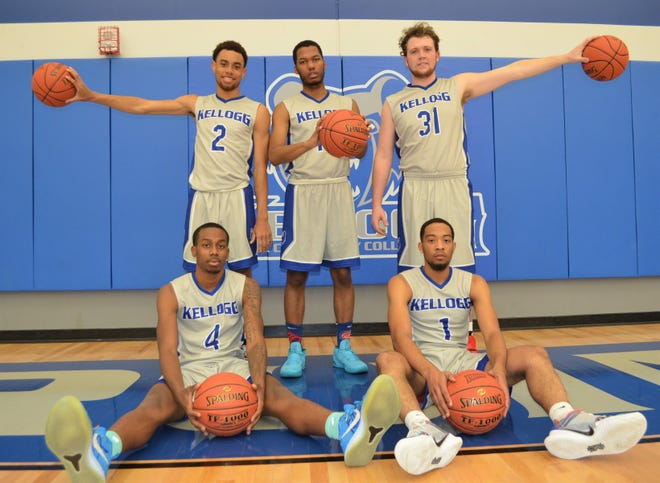 The Kellogg Community College men's basketball team for 2019-20 will be led by front row, from left, Tahveayr Boykins, Ron Jamierson. Back row, Dom Gibson, Gregorye Windom and Zackary Sims.