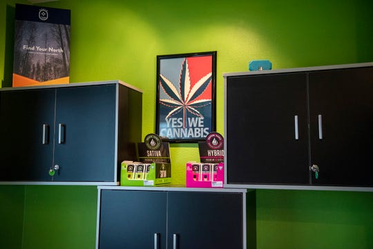 The CannaBar, a medical marijuana provisioning center, is fully licensed by the state and open for business, pictured on Tuesday, Nov. 19, 2019 in Battle Creek, Mich.