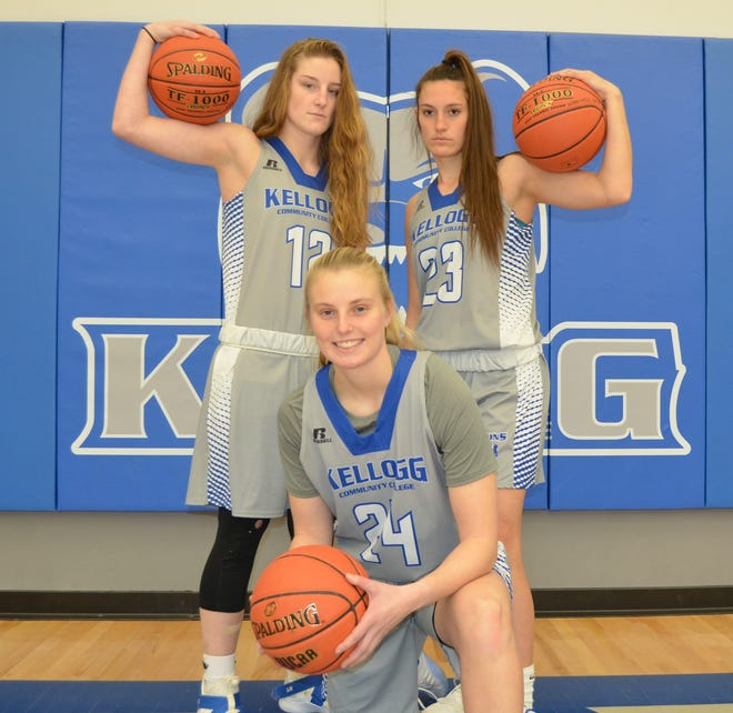 The Kellogg Community College women's basketball team for 2019-20 is led by returners, from left, Jessalynn Genier, Meg Niedzwiecki and Brianna Abercrombie.