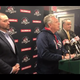 Binghamton Rumble Ponies owner John Hughes, flanked by Fred Akshar, left, and Richard David, speaks at a news conference Tuesday at NYSEG Stadium.