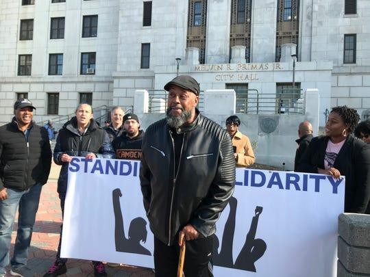 Camden activist Gary Samuels talks outside Camden City Hall Tuesday.