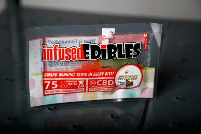 InfusedEdibles CBD gummies at the Enquirer Studio in downtown Cincinnati on Tuesday, Nov. 19, 2019.