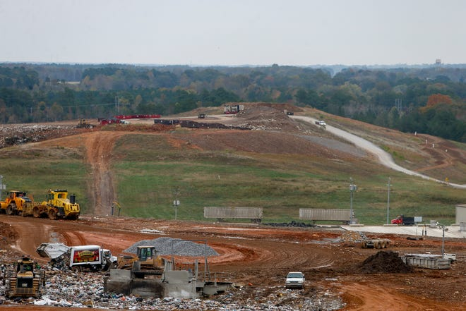 From atop the highest point in the landfill, operations throughout the site carry on at Bi-County Solid Waste Management in Woodlawn, Tenn., on Tuesday, Oct. 29, 2019.