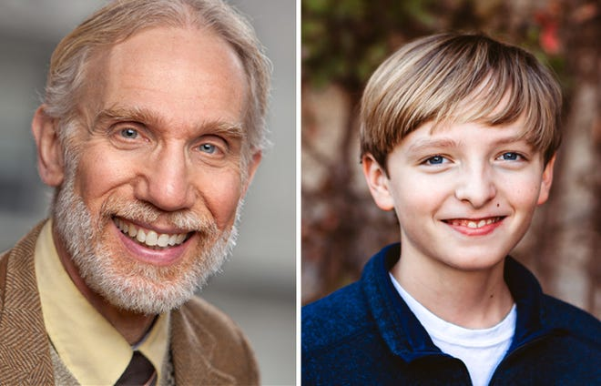 "Jonathan Fluck and Caleb Crosby star as Ebenezer Scrooge and Tiny Tim in ""A Christmas Carol: The Musical"" at the Roxy Regional Theatre, Nov. 28-Dec. 21."