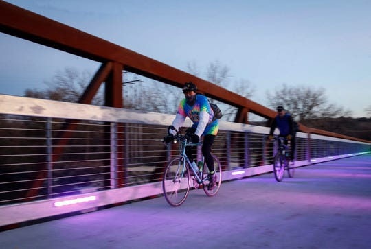 The lights on the Gray's Station Bridge at Gray's Lake are officially on. City officials gathered at the bridge on Tuesday, Nov. 19, 2019, to celebrate the lighting of the bridge.
