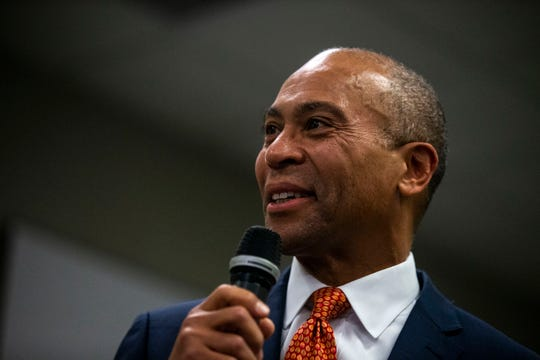 Deval Patrick, former governor of Massachusetts, speaks to a gathering of Polk County Democrats on Monday, Nov. 18, 2019, in Des Moines. This is Patrick's trip visit to Iowa after announcing he's running for president.
