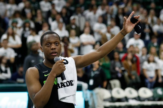 Michigan State guard Cassius Winston thanks the crowd for the support he and his family have received after the death of his brother Zachary last week. Winston spoke a win over Charleston Southern, Monday, Nov. 18, 2019, in East Lansing.
