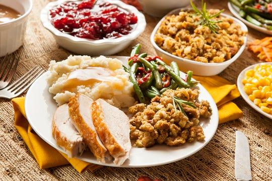 Homemade turkey Thanksgiving dinner.
