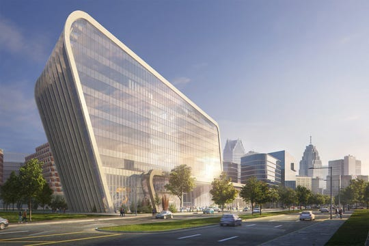 Rendering shows the University of Michigan's planned Detroit Center of Innovation, announced in November 2019 and scheduled to be completed in a few years.