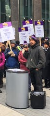 Security guard Randall Pace took part in the protest and rally in downtown Detroit.