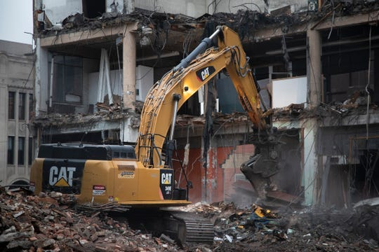 Demolition of the historic Saturday Night Building on 550 West Fort Street in Detroit Tuesday, Tuesday, Nov. 19, 2019.