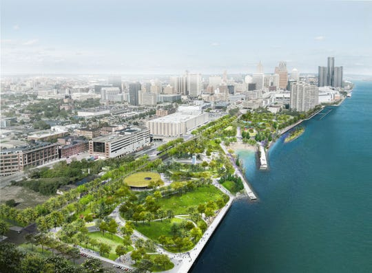 Rendering shows the plan for the Ralph C. Wilson Jr. Centennial Park on Detroit's west riverfront, scheduled to be completed and open to the public in late 2022.