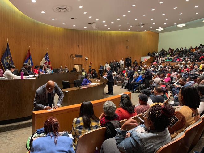 John Naglick, chief deputy CFO/finance director, addresses the Detroit City Council during a public hearing to discuss a $250 million bond proposal on Monday, November 18, 2019 at the Coleman A. Young Municipal Center.