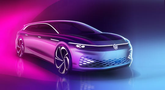 A sketch of the Volkswagen ID. Space Vizzion electric concept that will premiere Wednesday.