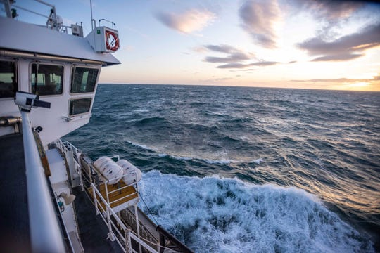 This Nov. 8, 2019, photo shows the Chukchi Sea from the top deck of the research vessel the Sikuliaq.