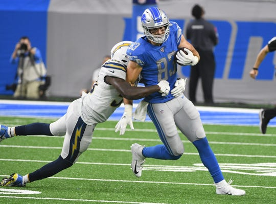Lions tight end Jesse James has eight catches for 64 yards in 10 games this season.