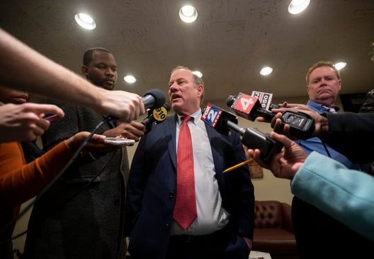 Detroit Mayor Mike Duggan speaks to the media last week after the Detroit City Council rejected a proposal, 6-3, to put a $250 million bond before city voters in the spring.