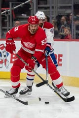Red Wings defenseman Jonathan Ericsson (52) has played just two NHL games this season because of injuries.