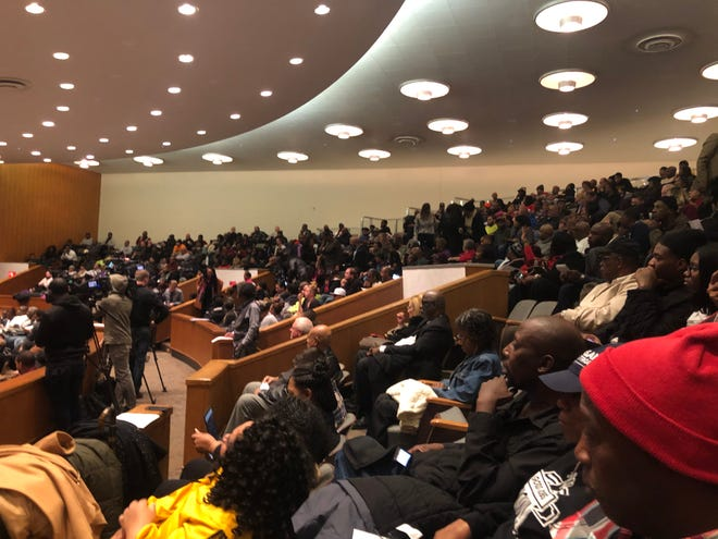 Crowds pack a Detroit public hearing Monday night about whether the City Council should place a $250 million bond measure to continue to eliminate blight on the March ballot