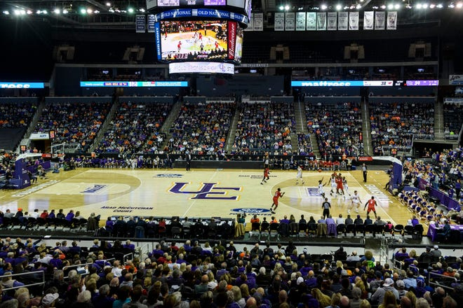 According to the Ford Center, 5,639 people attended the Southern Methodist University Mustangs vs. University of Evansville Purple Aces game in Evansville, Monday evening, Nov. 18, 2019. The UE Purple Aces fell 59-57 to the SMU Mustangs.