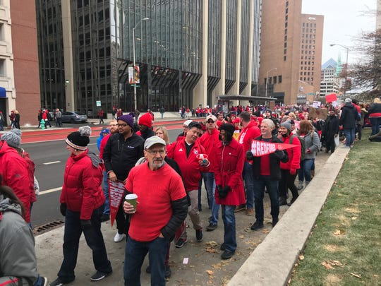 EVSC teachers gather in Indianapolis Tuesday, Nov. 19, for the Red for Ed rally.