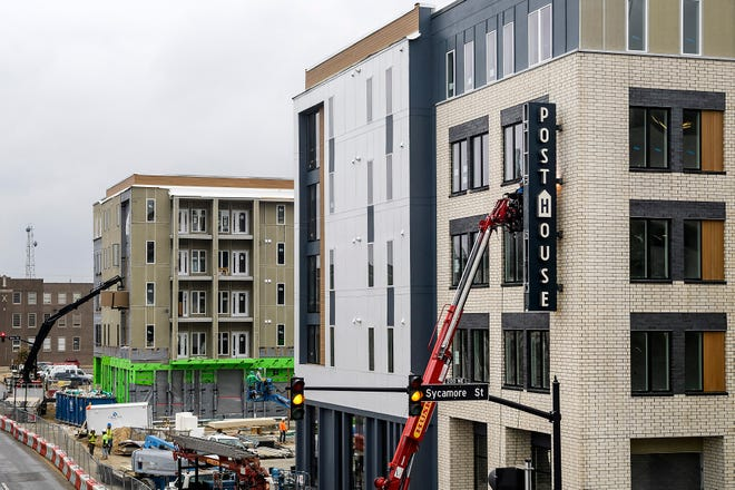 Construction crews continue to work on the Post House building in Downtown Evansville, Tuesday, Nov. 19, 2019. The $40 million facility will feature 144 apartments and businesses and restaurants on the ground level.