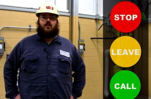 Cory Stinson appears in a one-minute safety video about natural gas emergencies that the Gibsonburg Volunteer Fire Department has entered in a Columbia Gas contest, seeking to win $5,000.