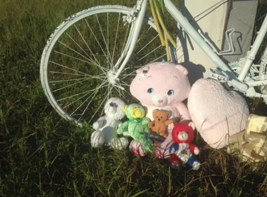 A monument to a 15 year old boy killed five years ago while riding his bicycle on Kismet Parkway.