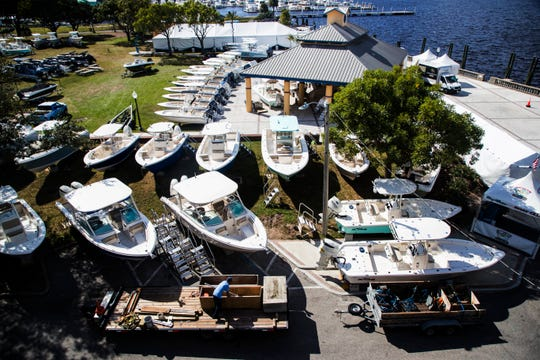 Boating companies prepare for the 2019 Fort Myers Boat Show at Centennial Park on Tuesday Nov. 19, 2019.