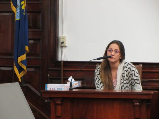 Katelyn Zdeb, ex-wife of Brandon Lee Craft, answers questions during Craft's trial for the 2016 killing of Adam Petzack.