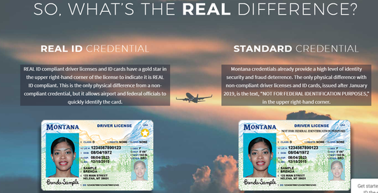 The new Real ID cards have a gold star in the upper right corner, as shown on the card on the left.