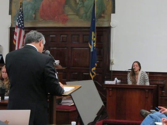 Defense attorney Larry LaFountain grills Katelyn Zdeb, ex-wife of Brandon Lee Craft, on the stand during Craft's trial. Craft is accused of deliberate homicide for the 2016 murder of Adam Petzack.