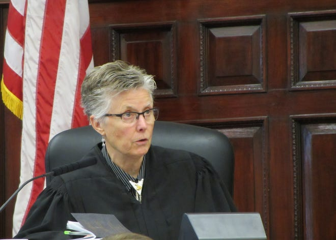 Judge Elizabeth Best gives jury instructions before deliberations begin in trial of Brandon Lee Craft for the homicide of Adam Petzack Tuesday, Nov. 19, 2019.
