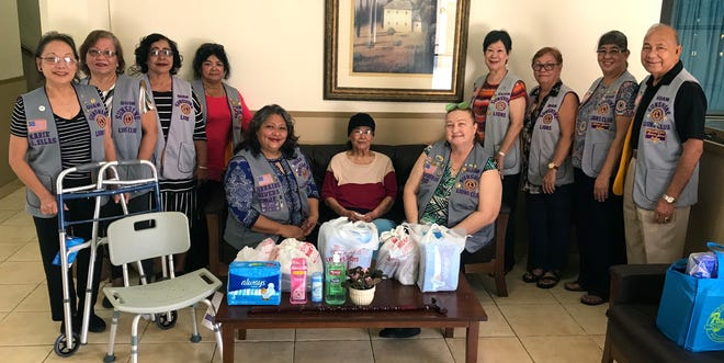 Members of the Guam Sunshine Lions Club visited Rosario S.N. Hebra, 79, in Tamuning on Nov. 15, bringing a walker, shower seat, supplies, song and cheer.