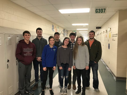 Henderson County High School Students of the Month for October are, in front row: Ann-Talbot Crafton, Caroline Galbraith, Cecilia Palummo. In back row: Dru Meadows, Jacob Latimer, Jordan Toribio, Ben Dalton, Paxton McGraw. Not Pictured: Mallorie Veal, Bella Marshall, Breck Bender, Morgan Bassett.