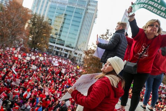 Thousands rally at the Indiana Statehouse on Red for Ed Action Day in Indianapolis on Tuesday, Nov. 19, 2019. The rally was organized by the Indiana State Teachers Association and other labor groups to urge legislators to increase school funding and teacher salaries.