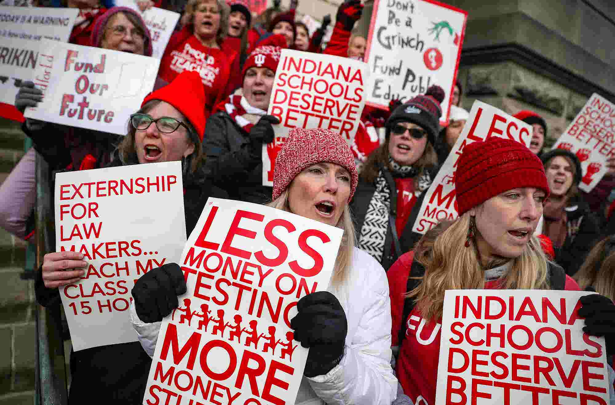 Lafayette area teachers join thousands in Indianapolis rallying for Red for Ed