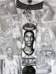 "James Pate drew""Blackballed Totem Drawing: Roger 'The Rajah' Brown "" as a tribute to the famous Pacers player, and the piece helped spark Brown's recognition at the University of Dayton."