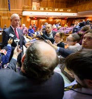 Speaker of the Indiana House of Representatives, Brian Bosma, speaks to the media after he announced that he will be leaving his position after the 2020 session. Legislators prepared for the start of the 2020 state legislative session with Organization Day, thousands of teachers from across the state converged on the Indiana State Capital to protest education issues that impact them, Tuesday, Nov. 19, 2019.