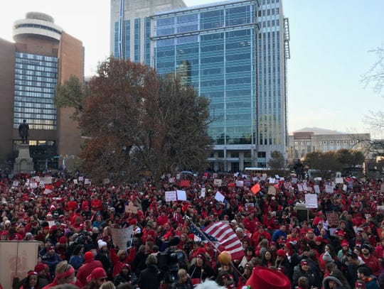 Teachers gather at the Indiana Statehouse for Red for Ed Action Day on Nov. 19, 2019. More than 15,000 teachers were expected.