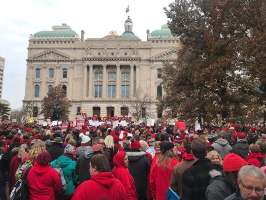 Teachers gathered at the Indiana Statehouse for Red for Ed Action Day on Nov. 19, 2019.